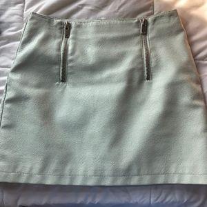 blue zip front skirt